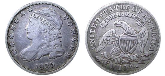 Capped Bust Dime Value History Charts | Landofcoins com